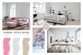 Grey Interior Moodboard Landscape Poster template