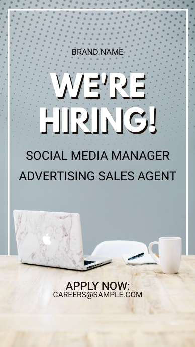 Grey Job Vacancy Instagram Story Ad Template Postermywall