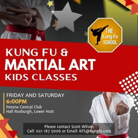 Grey Karate Classes Ad Square Video template