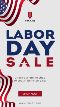 Grey labor day sale instagram story template