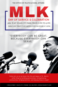 Grey Martin Luther King Jr. Day Poster