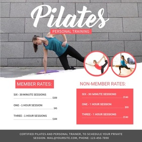 Grey Pilates Training Ad Square Video