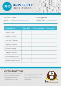Grey School Report Card A4 template