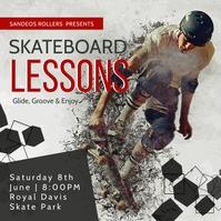 Grey skate lessons instagram post template