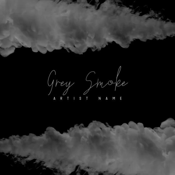 Grey Smoke Video Album Mixtape Insta Cover Square (1:1) template