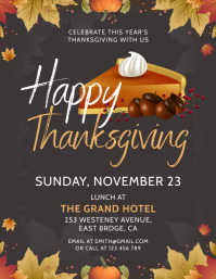 Grey Thanksgiving lunch flyer template