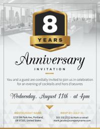 Grey Work Anniversary Invitation Flyer Volantino (US Letter) template