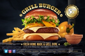 Grill Burger Cheese Offer Poster Flyer