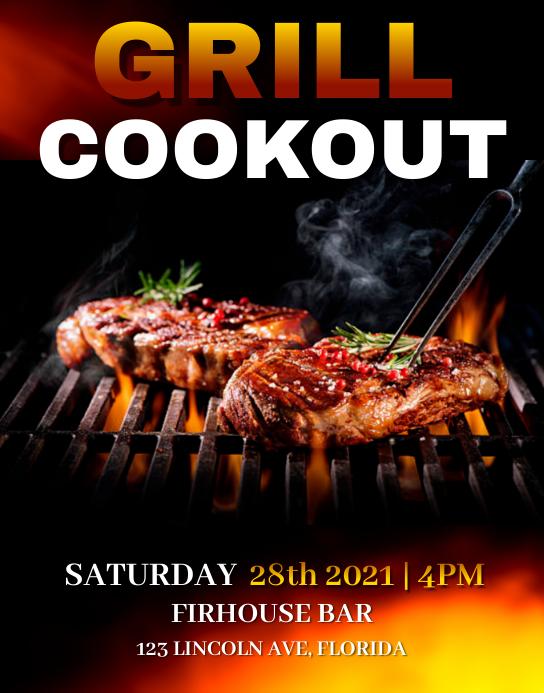 Grill Cookout Flyer Template Iphosta/Ibhodi lasebondeni