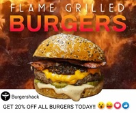 Grilled Burger Digital Promo Template Persegi Panjang Besar
