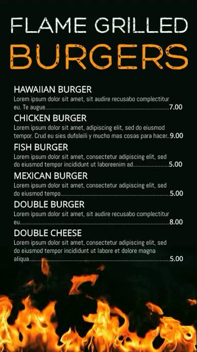 Grilled Food Menu Template