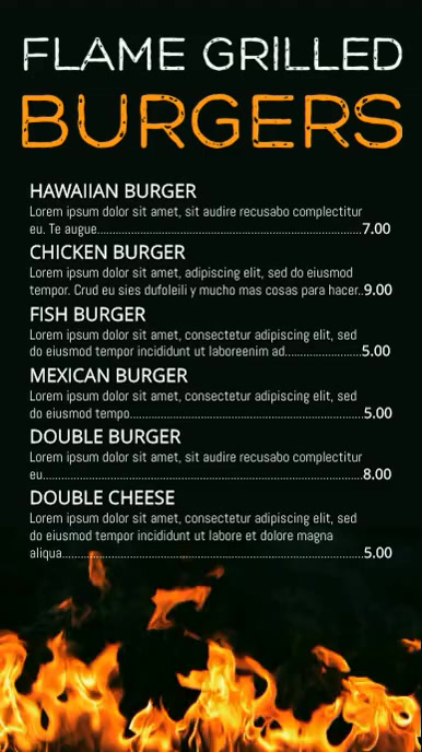 Grilled Food Menu Template Tampilan Digital (9:16)