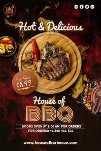 Grilled Meat Poster template
