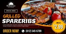 Grilled Pork Spare Ribs Ad Template Gedeelde afbeelding op Facebook