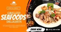 Grilled Seafoods Social Media Post Template Gedeelde afbeelding op Facebook