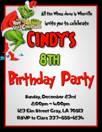 Grinch Christmas Birthday Party