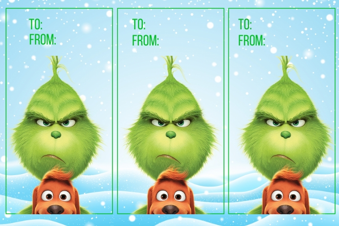 Grinch Tag Label template