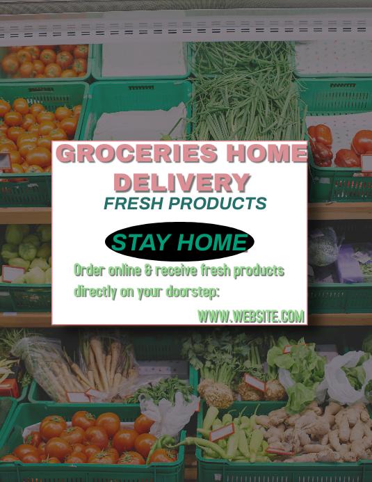 Groceries flyer Рекламная листовка (US Letter) template
