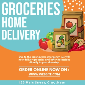 Groceries home delivery instagram post design