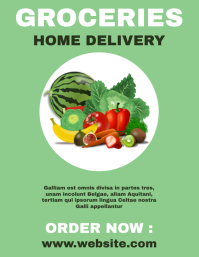 Groceries home delivery service flyers poster