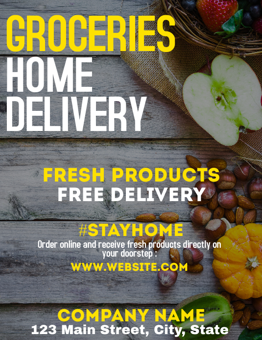groceries home delivery services flyer 传单(美国信函) template