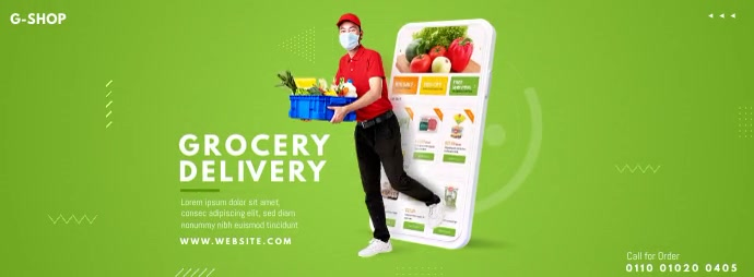 Grocery Delivery Ad รูปภาพหน้าปก Facebook template