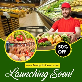 Grocery Delivery Flyer Template Square (1:1)