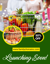 Grocery Delivery Flyer Template Рекламная листовка (US Letter)