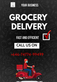 Grocery delivery flyers A3 template