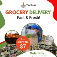Grocery delivery service ad with multiple vid Wpis na Instagrama template