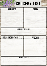 GROCERY LIST CHECKLIST