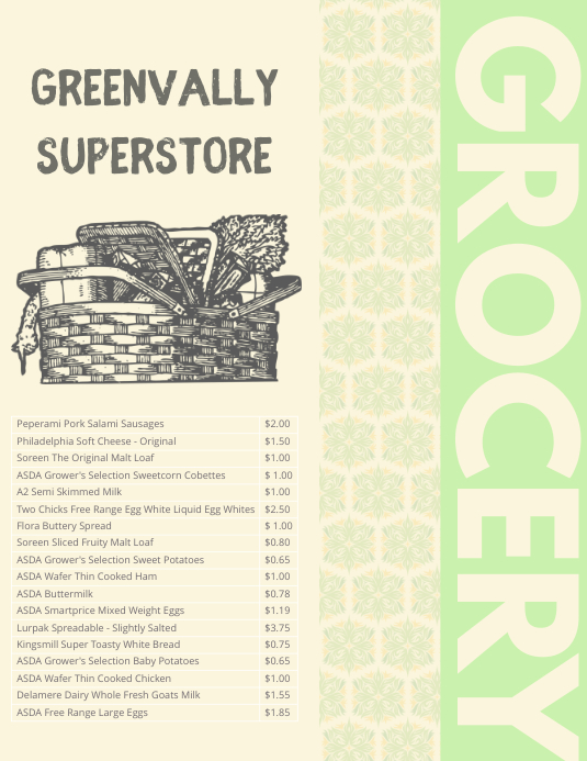 Grocery Price List Flyer Template