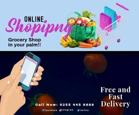 GROCERY SHOP 3 Large Rectangle template
