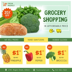 Grocery Store Covid-19 Square Ad