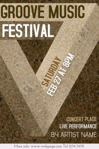 groove music concert or festival poster template - brown