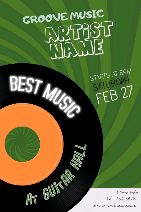 groove music event poster template - green