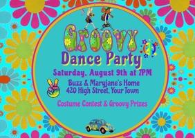 Groovy 60's Party Invitation Postkarte template
