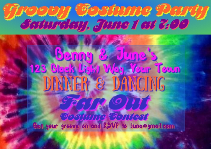 Groovy 60's Party Postcard Invitation