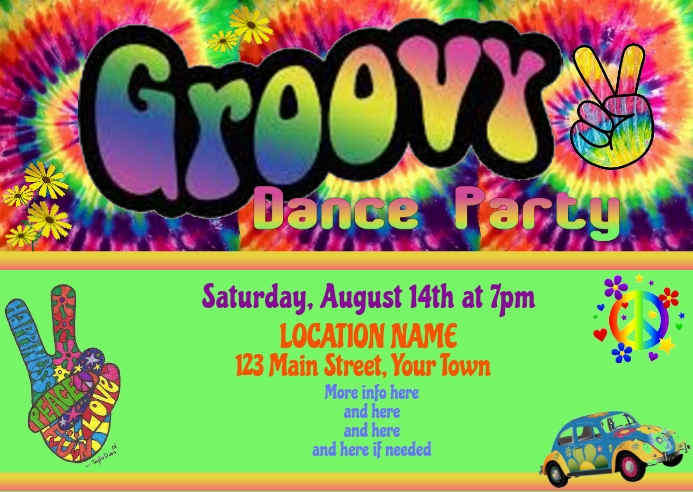 Groovy Dance Party Postcard Invitation