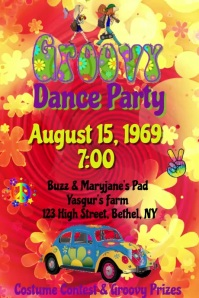 Groovy Hippy Party Video Poster template