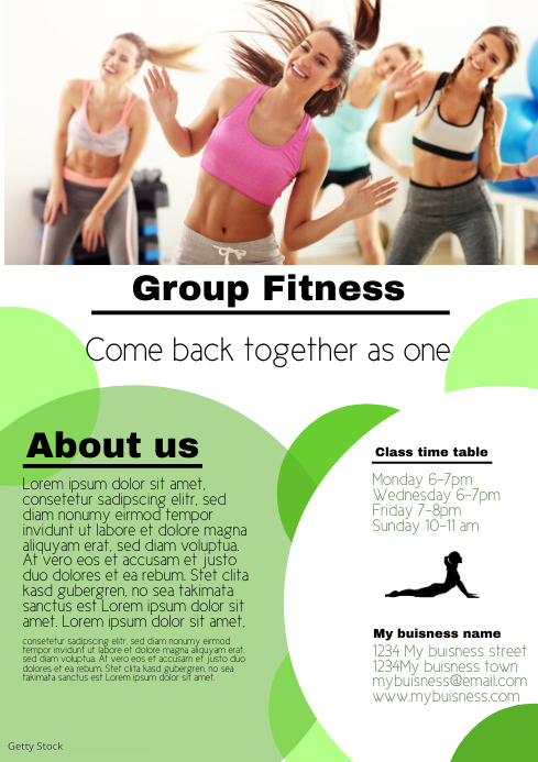 Group Activity fitness pilates yoga template A4