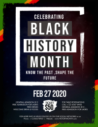Grunge Black History Month Flyer Template Pamflet (Letter AS)