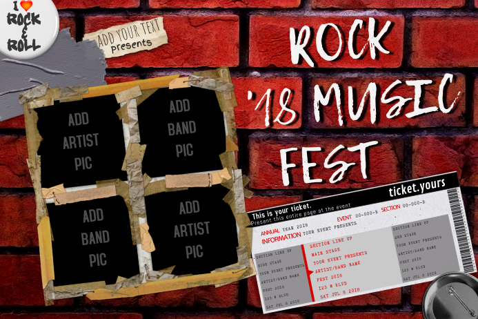 Grunge Brick Wall Tape Graffiti Rock Bar Fest Concert Ticket