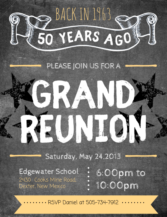 Grunge College Reunion Flyer Pamflet (Letter AS) template