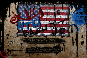 Grunge Graffiti Handwriting July 4th American Independence