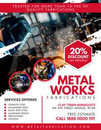 Grunge Red Steel Works Service Flyer Template