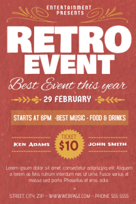 grunge retro event flyer poster template