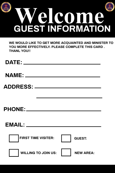 Guest Information Cartel de 4 × 6 pulg. template