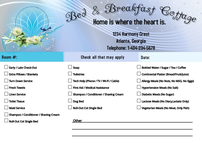 Guest Room Request Card Kartu Pos template