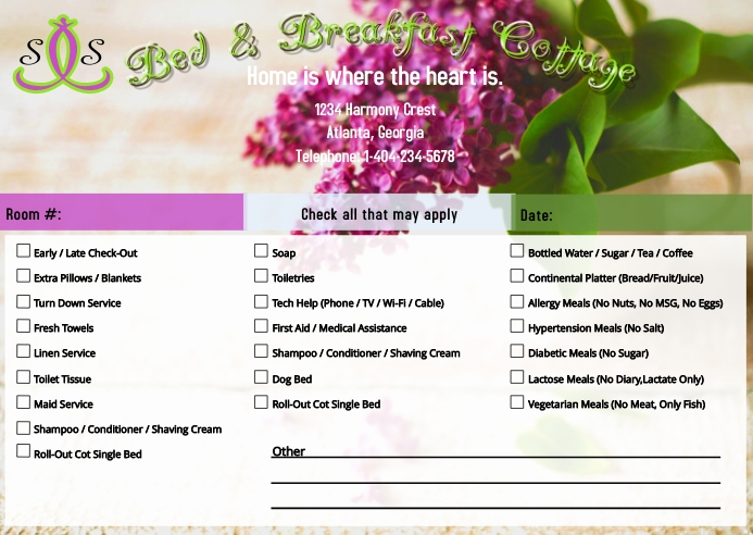 Guest Room Request Card Floral Kartu Pos template